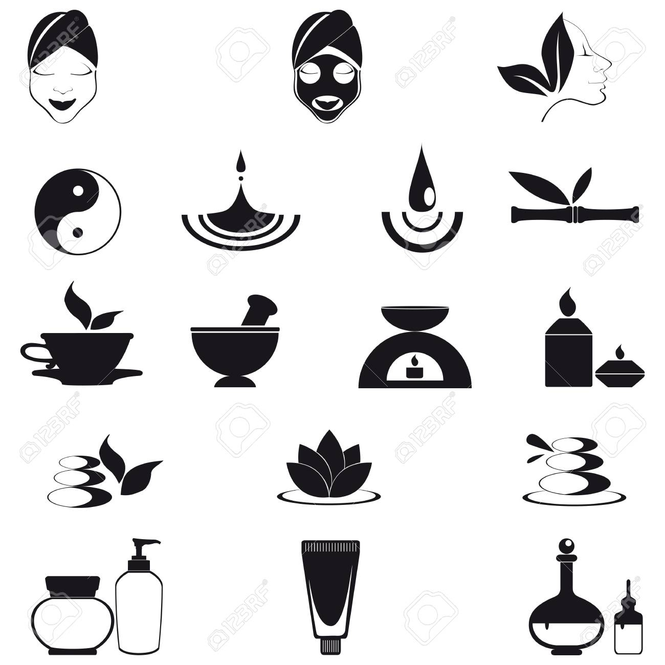 Wellness, spa and nature icons isolated on white Stock Vector - 17814634