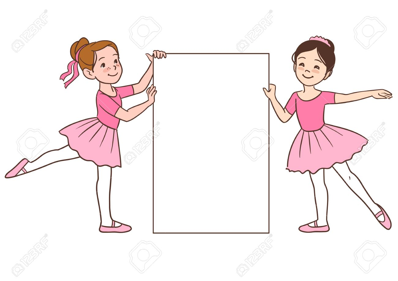 357dd2d77e7d Vector cartoon character illustration of two cute little ballerina..
