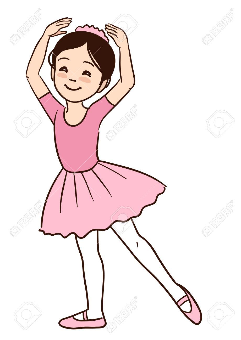 ベクトル手描き漫画の腕を上げると踊る笑顔かわいい小さなアジア