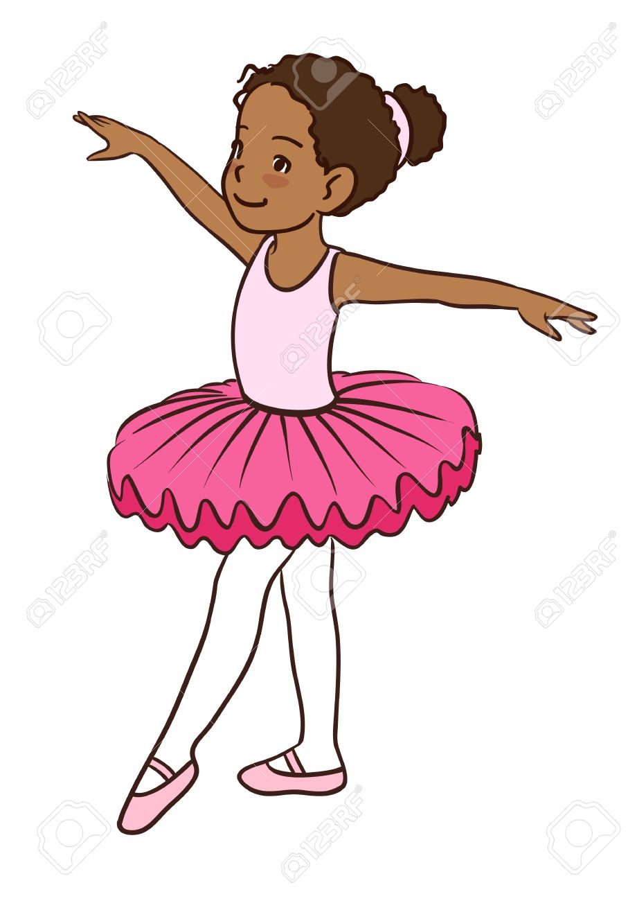 76469e455f855 Hand drawn vector character cartoon illustration of a little  African-American cute dancing ballerina girl