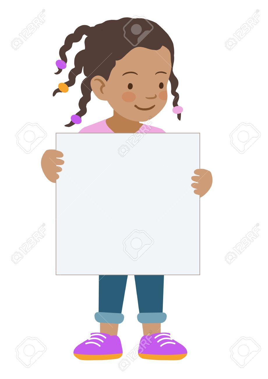 かわいい小さなアフリカ系アメリカ人女の子立っている保有物の手描き