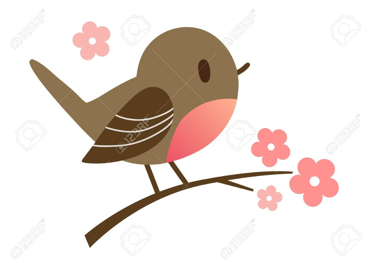 Cartoon hand drawn illustration of a cute robin bird sitting on a flowering tree branch, in contemporary flat vector style. Spring nature outdoor themed design element for website and print. - 64871730