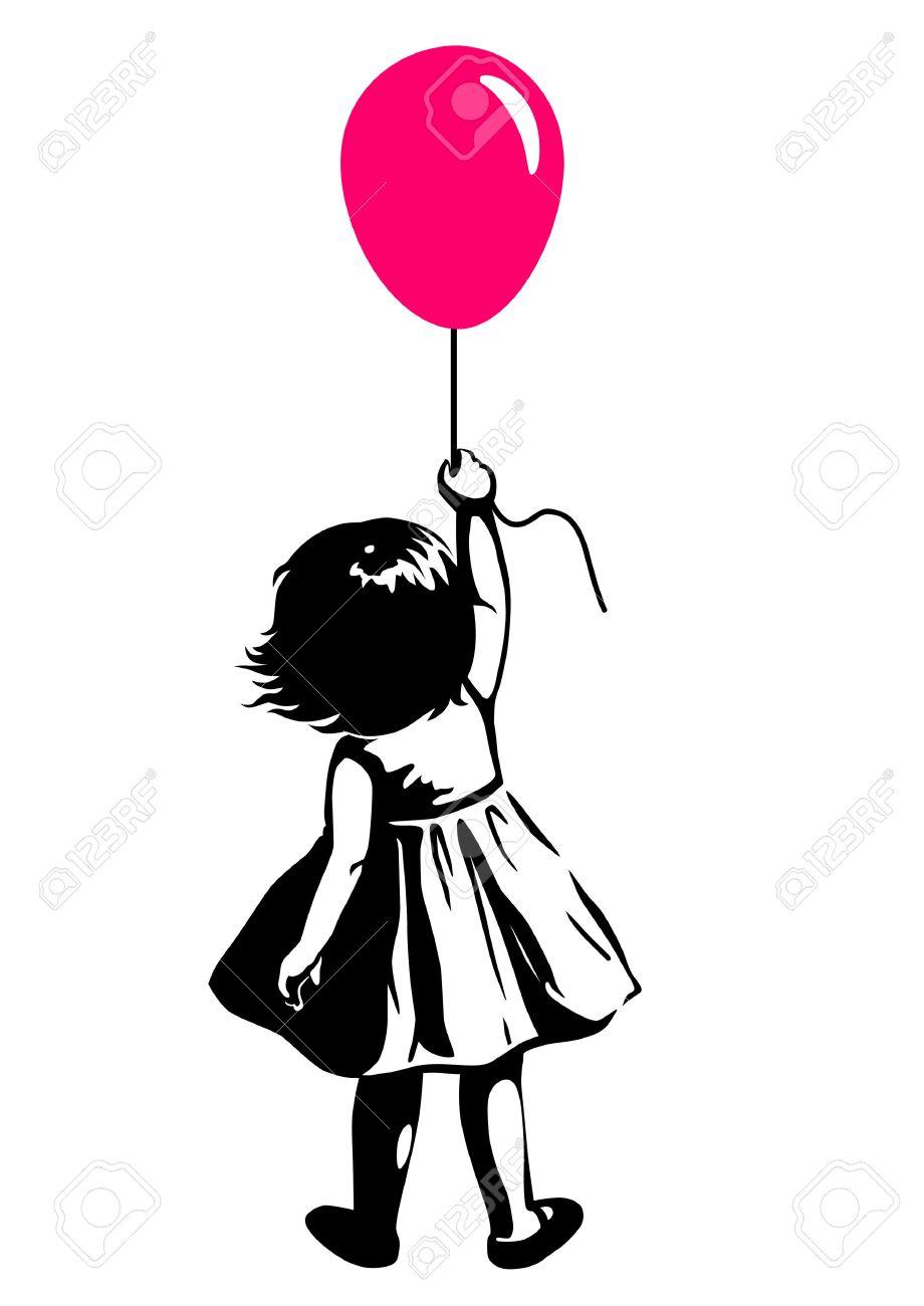 Vector Dessiné à La Main En Noir Et Blanc Illustration Silhouette D Une Jeune Fille En Bas âge Debout Avec Ballon Rose Rouge à La Main Vue De Dos