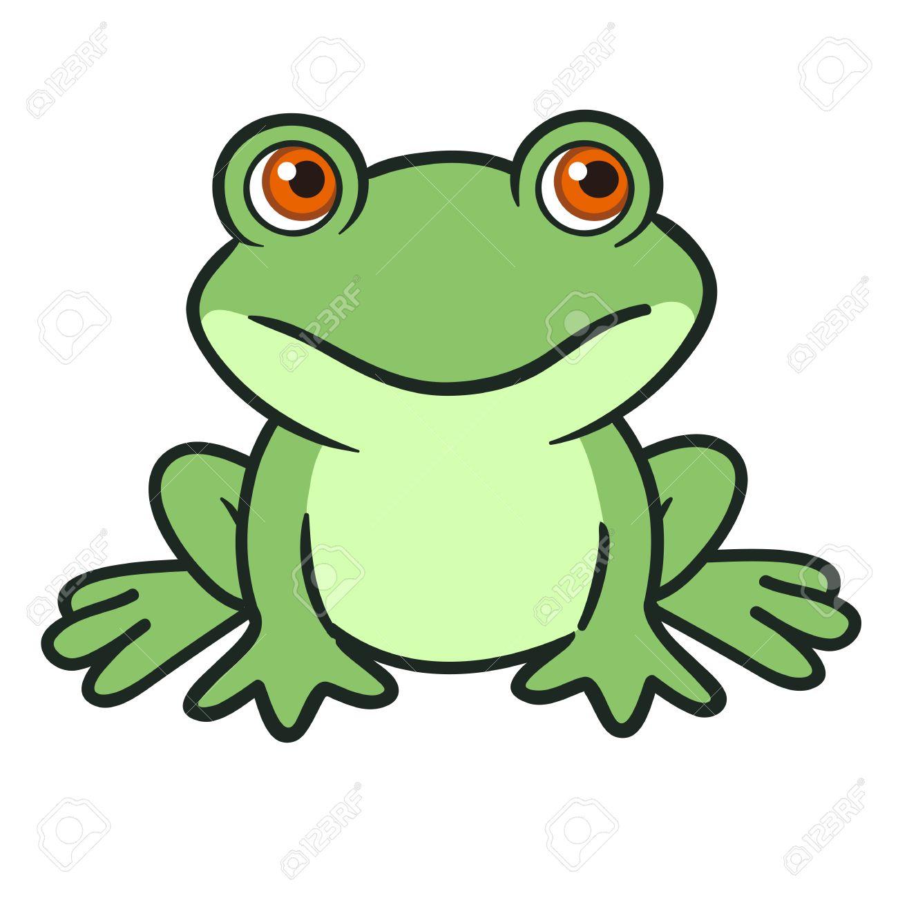 ベクトル手描き漫画イラストかわいい面白い緑のカエルのキャラクターが