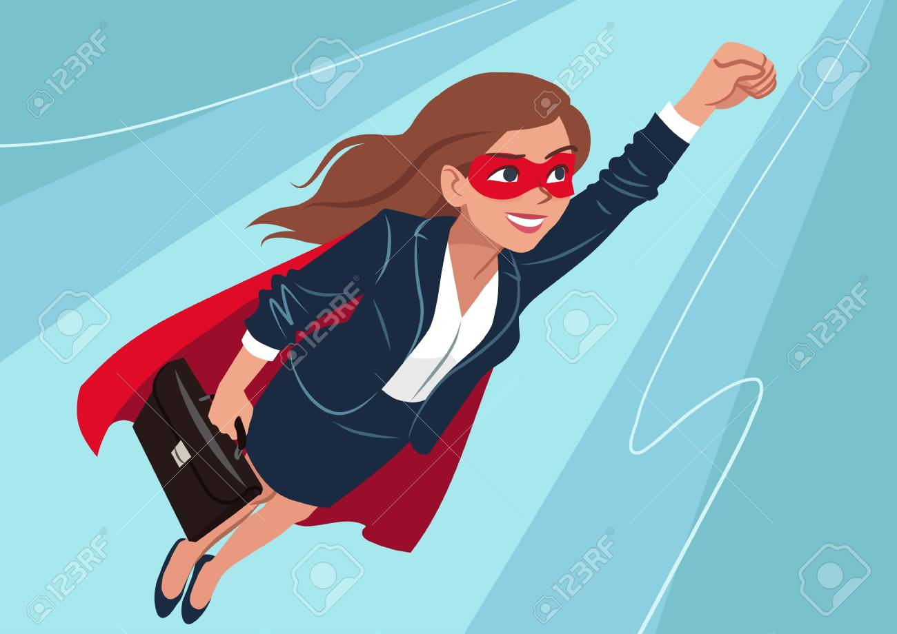 Young Caucasian superhero woman wearing business suit and cape, flying through air in superhero pose, on aqua background. Vector cartoon character illustration, business, achievement, goals theme. - 110553041