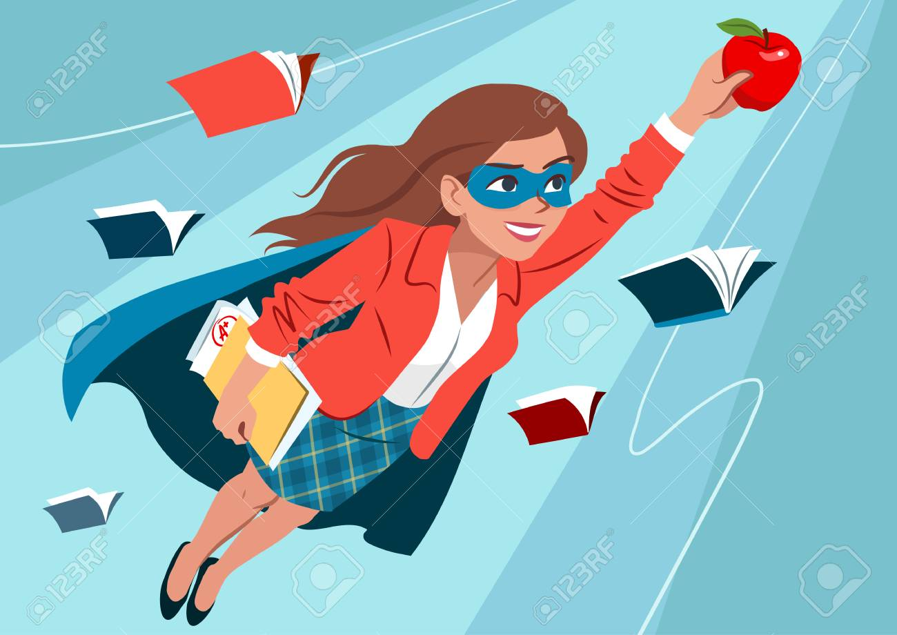 Young woman in cape and mask flying through air in superhero pose, looking confident and happy, holding an apple and folder with papers, open books around. Teacher, student, education learning concept - 110553043