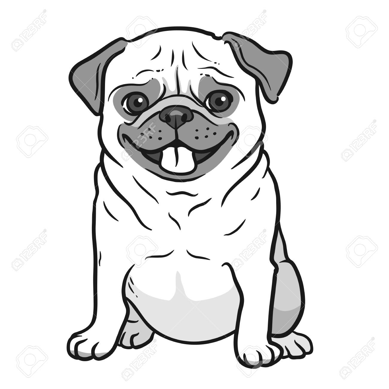 Pug 8x10 FT Photo Backdrops,Cartoon Pug Dog Caricature with Its Tongue Out Happy Face Animal Fun Illustration Background for Child Baby Shower Photo Vinyl Studio Prop Photobooth Photoshoot
