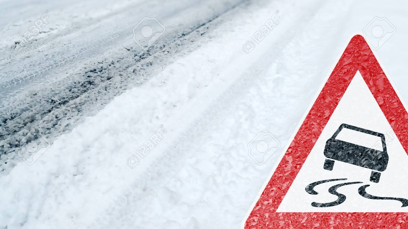 Winter Driving - Caution - Risk of Snow and Ice - 113081635