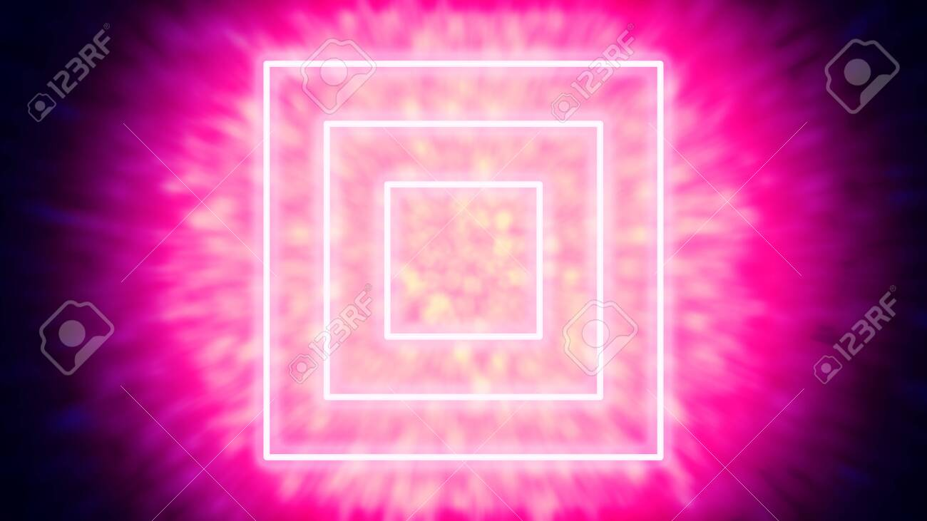 Three glowing or neon tube-like light objects, that are speeding through a tunnel of light particles - digitally generated concept image - 130118870