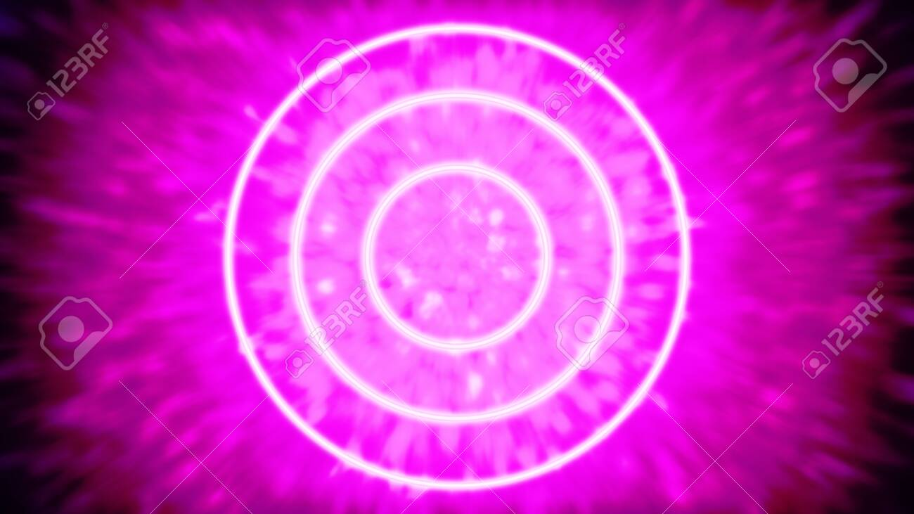 Three glowing or neon tube-like light objects, that are speeding through a tunnel of light particles - digitally generated concept image - 130118874