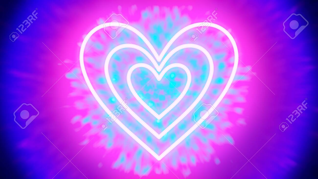 Neon Love - three heart-shaped neon tube-like light objects, that are hovering in front of a tunnel of light-colored particles - digitally generated concept image - 130118886