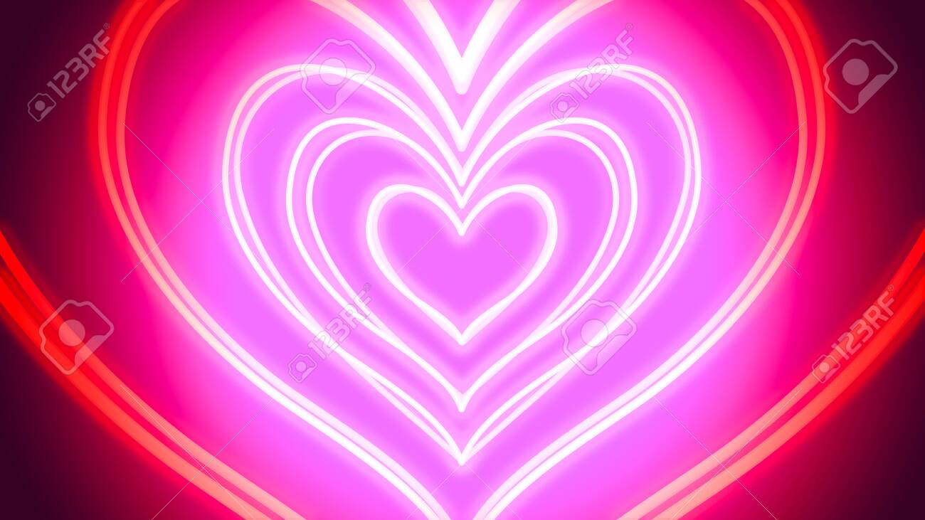 Tunnel of neon hearts - digitally generated image - 130118887