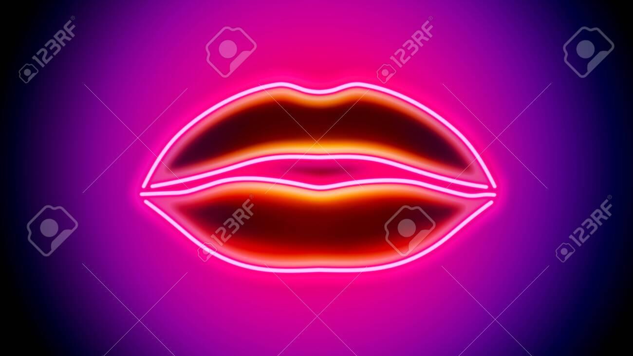 Sexy Neon Lips - digitally generated image - 130118889