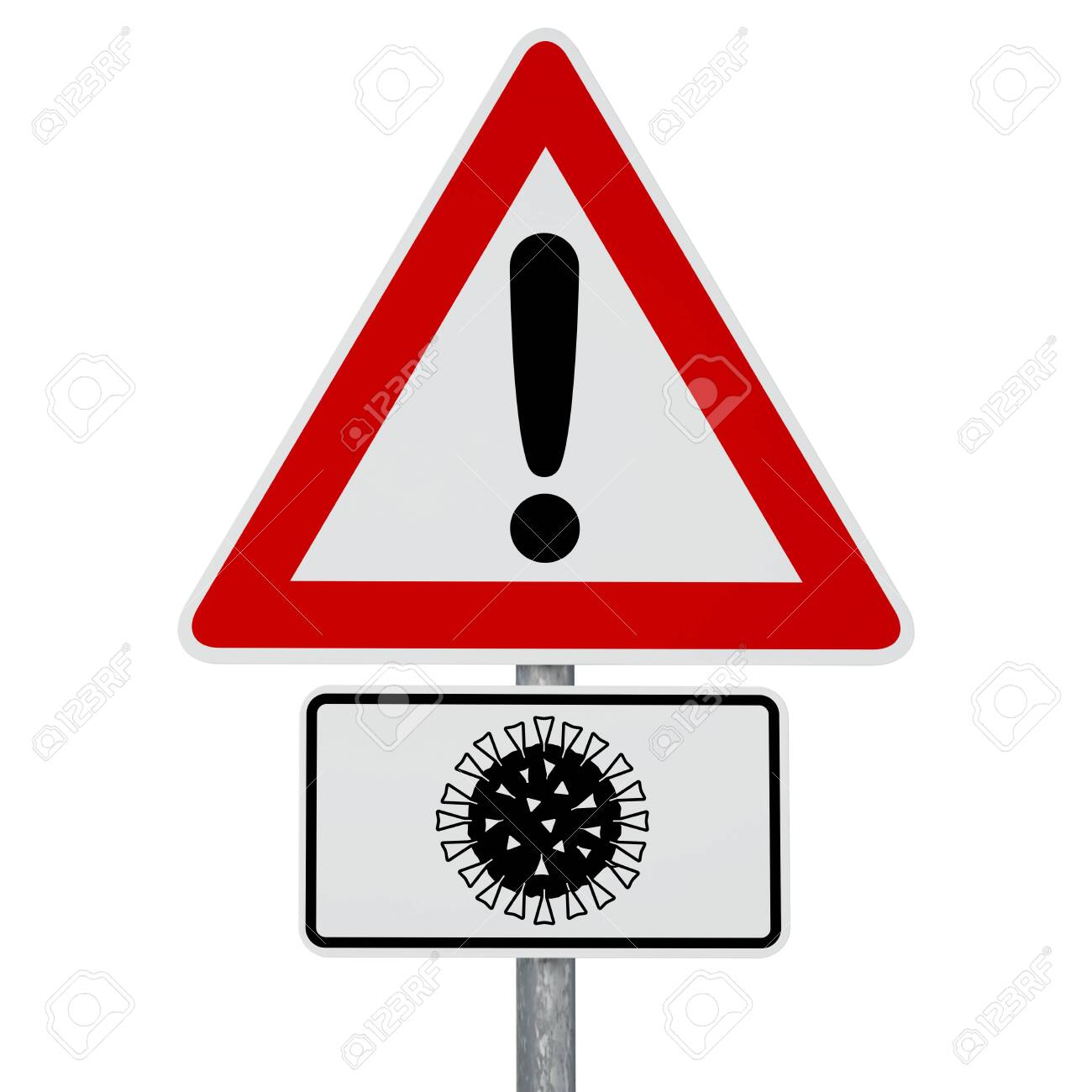 Caution Coronavirus - digitally generated image - clipping path included - 144257523