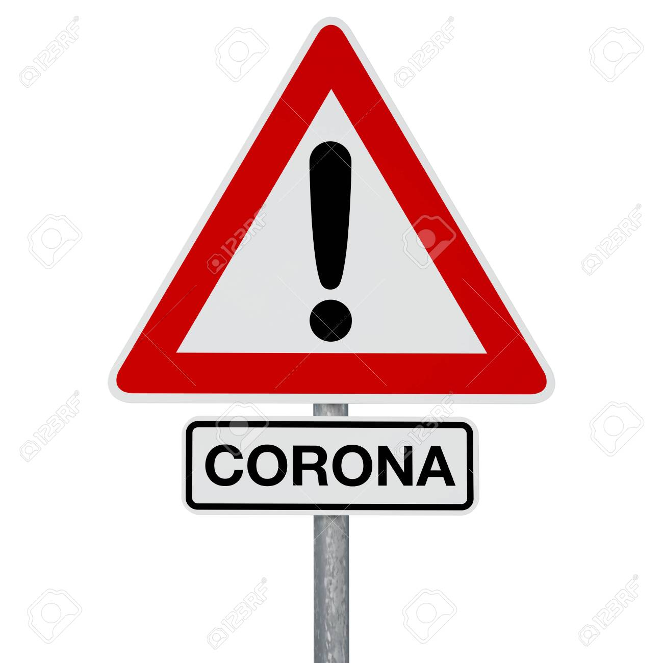 A traffic sign with CORONA additional sign, both attached to the same post. Digitally generated image. A clipping path is included. - 144669081