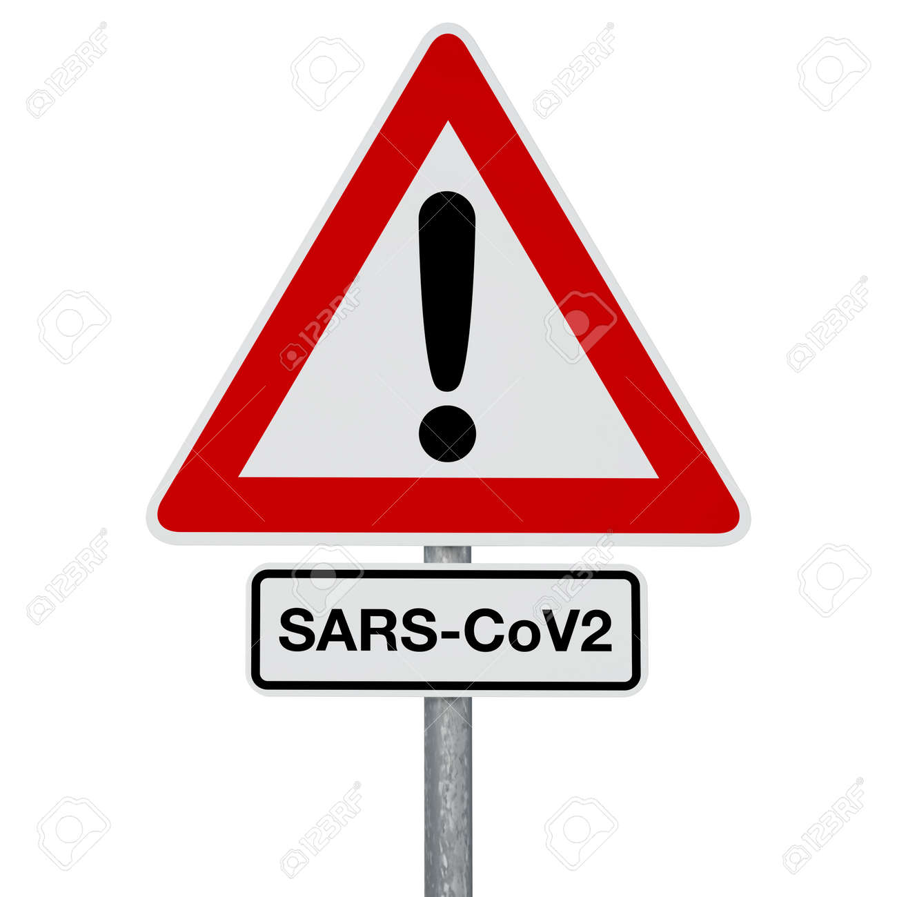 A traffic sign with SARS-CoV-2 additional sign, both attached to the same post. Digitally generated image. A clipping path is included. - 144669084