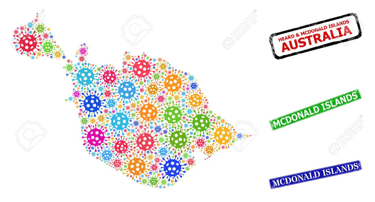 Vector virus mosaic Heard and McDonald Islands map, and grunge Mcdonald Islands seals. Vector vibrant Heard and McDonald Islands map collage, and Mcdonald Islands scratched framed rectangle seals. - 168821458