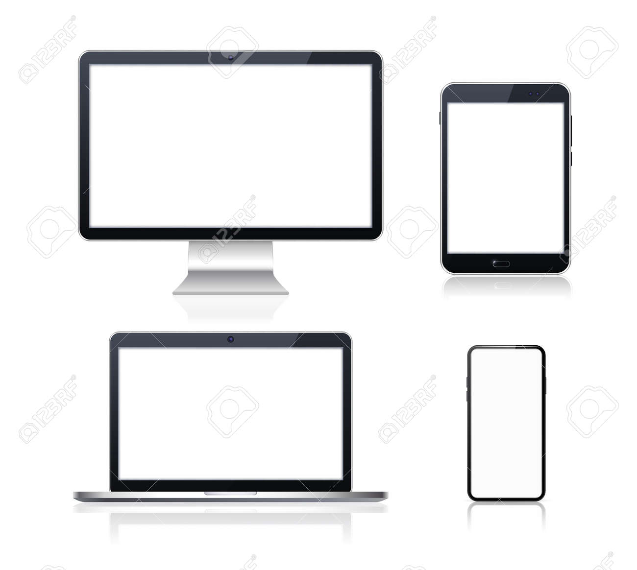 Set of Technological Devices with Blank Screen on Background . Isolated Vector Elements - 159245467