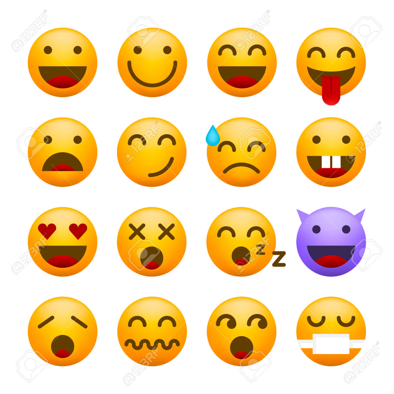 Cute High Quality Emoticon on White Background for your Design . Isolated Vector Illustration - 166853777