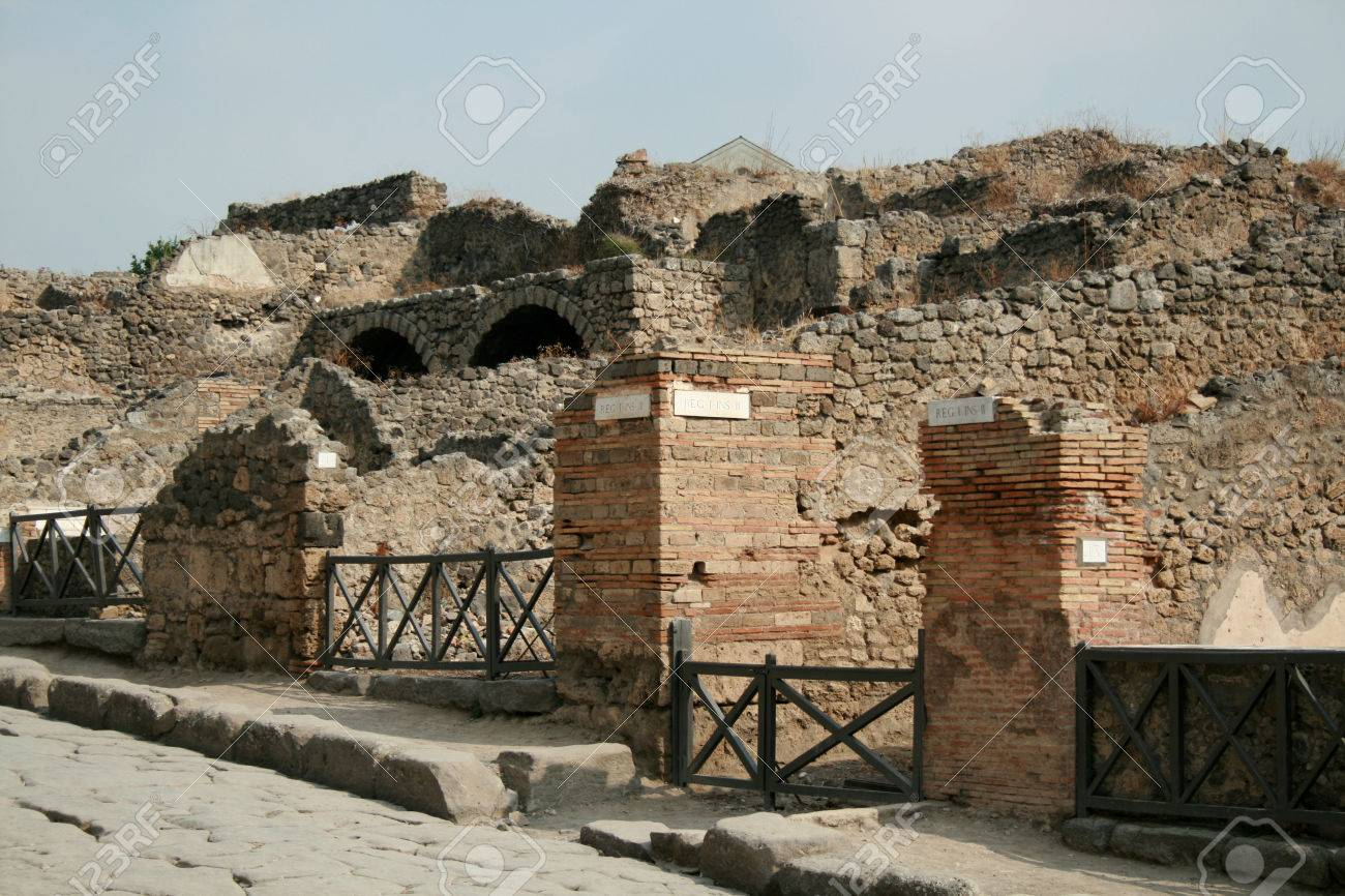 Ancient Roman Ruins At Pompeii Covered By Ash From Mount Vesuvius Eruption In 79AD Nr