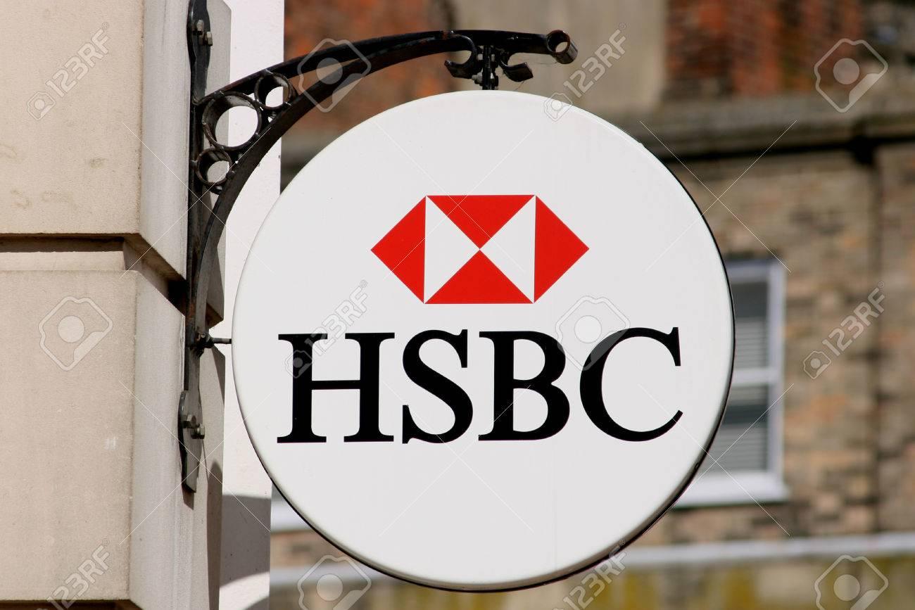 HSBC bank sign, High Street, Chelmsford, Essex, England