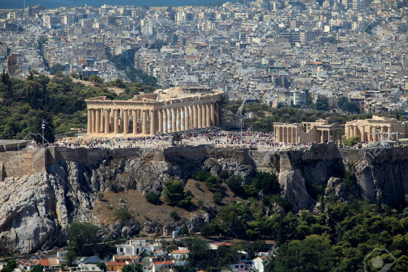 Acropolis of athens and the surrounding modern city from mount lycabettus athens greece stock