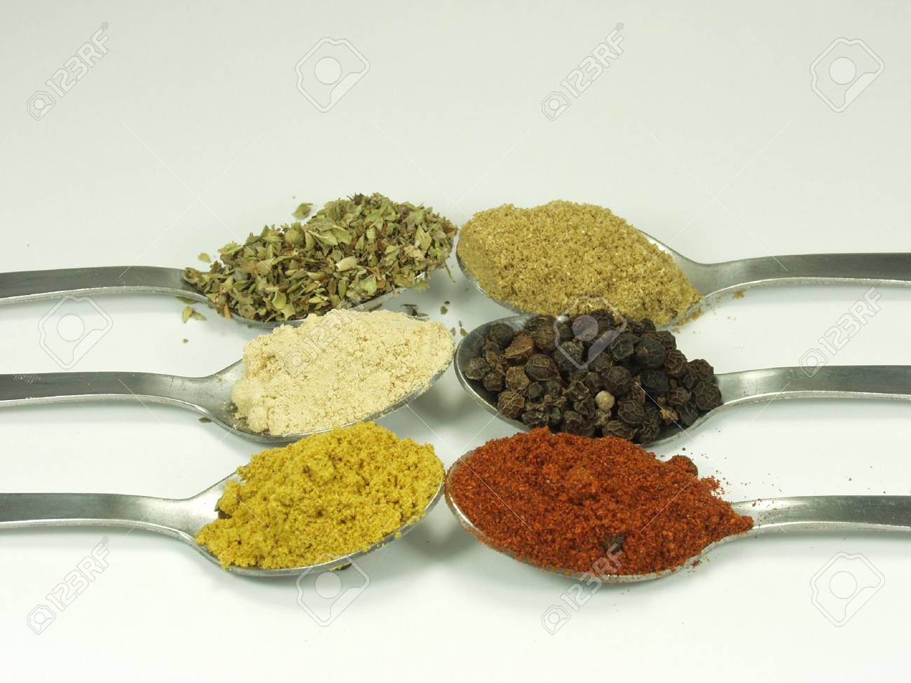 collection of spices on spoon Stock Photo - 576837