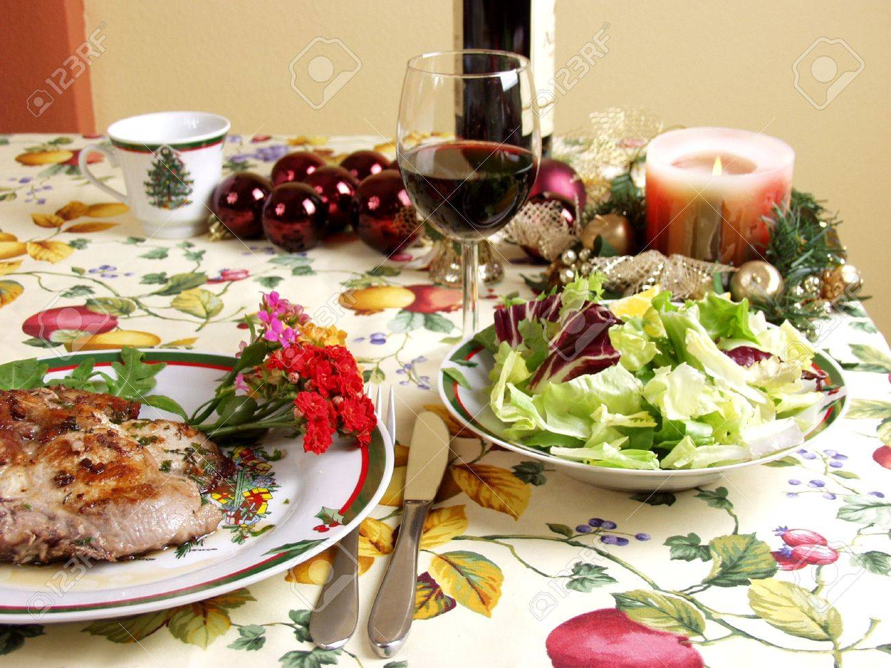 decorated table for christmas dinner whit pork steak dish Stock Photo - 667118