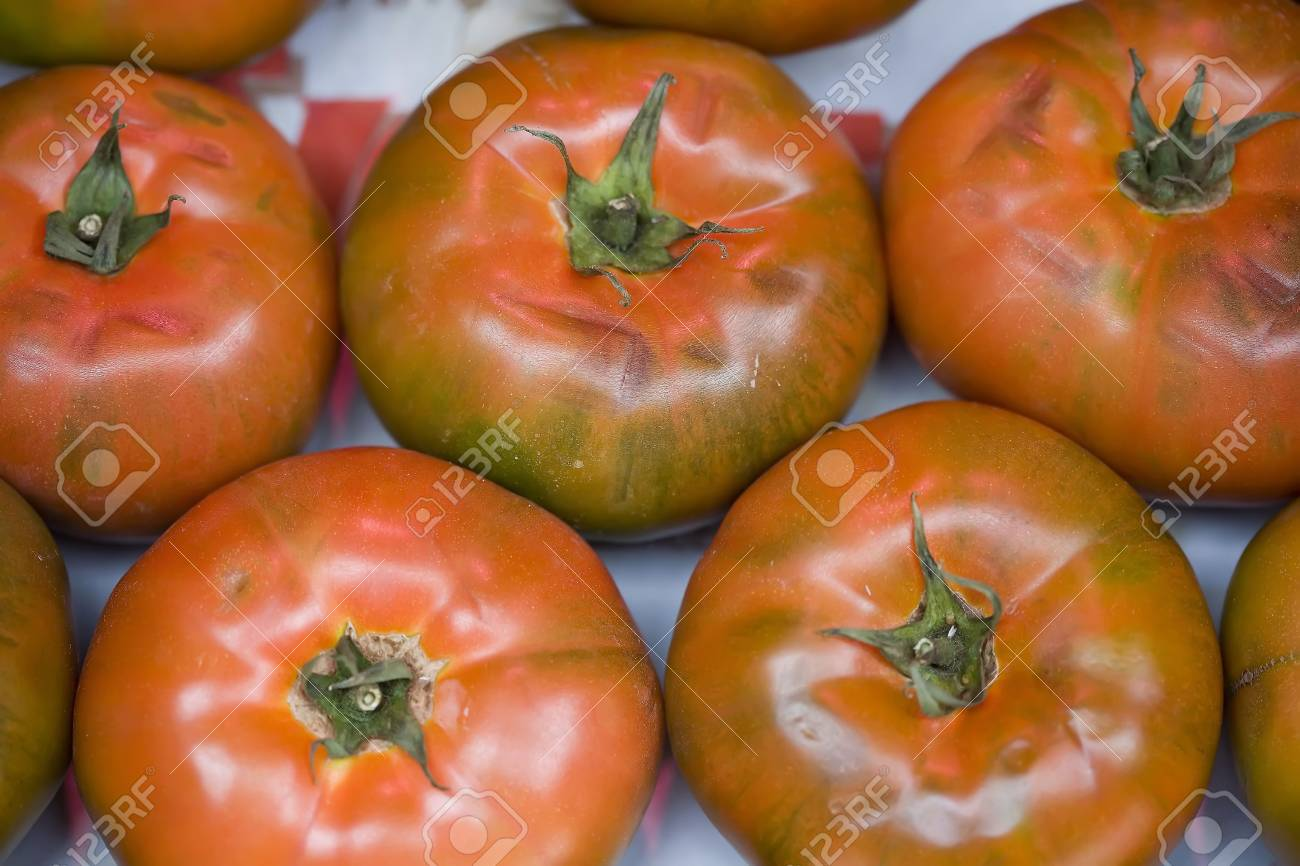 a box of fresh tomatos on the fruitshop Stock Photo - 892133