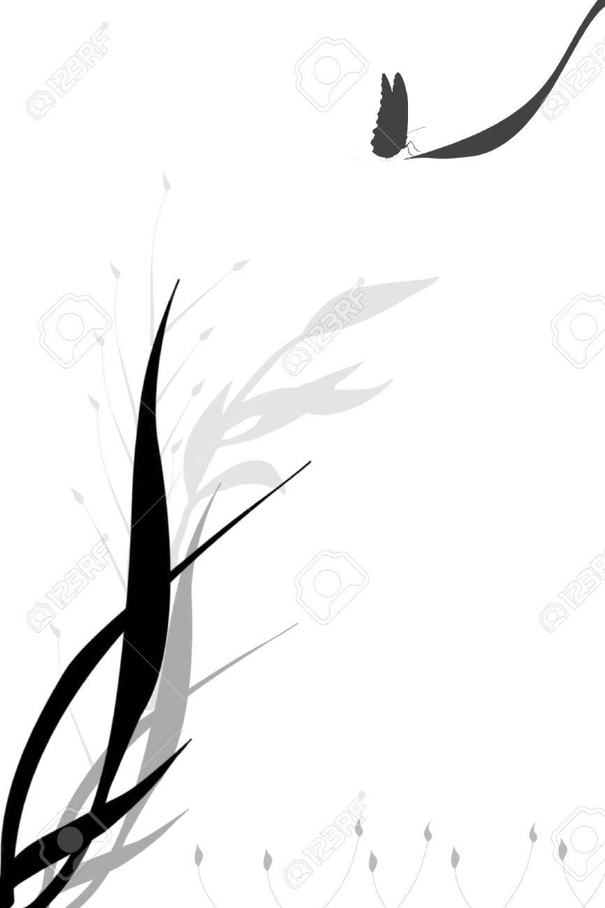 Artistic Flower And Butterfly Black And White Background Stock Photo