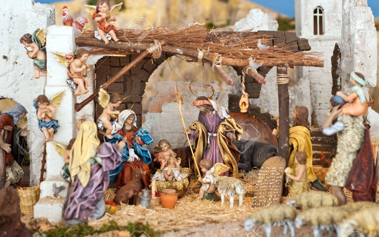 Nativity scene from figurine crib with focus on Mary and baby Jesus. Stock Photo - 4078015