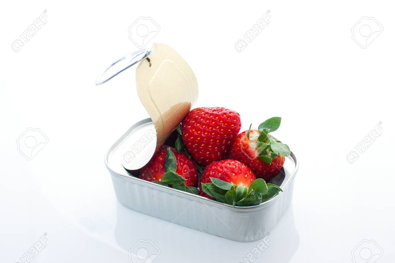 fresh and sweet red strawberries on silver can Stock Photo - 17776288