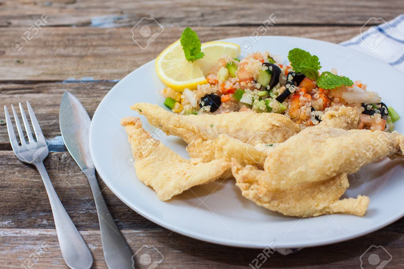 Fresh Quinoa Salad With John Dory Fillet Fish And Vegetables Stock Photo Picture And Royalty Free Image Image 51032794