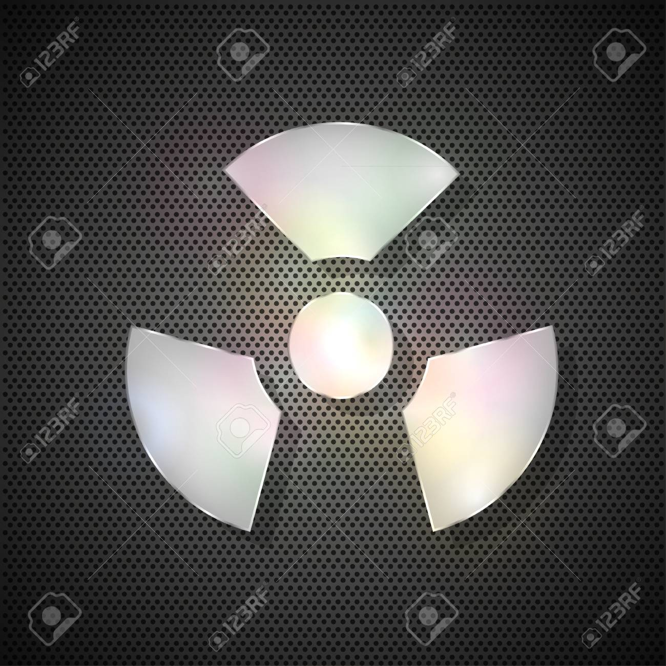 radiation symbol on metal background Stock Vector - 11909554