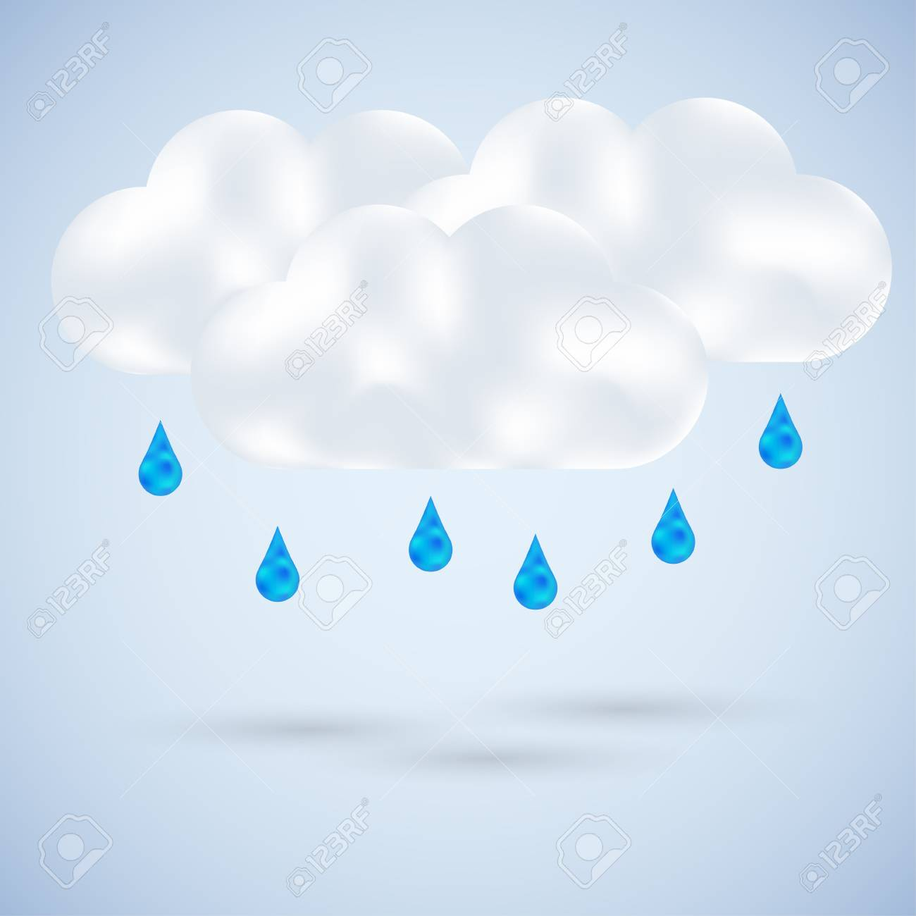 cloud with rain on blue. Vector illustration Stock Vector - 11990013