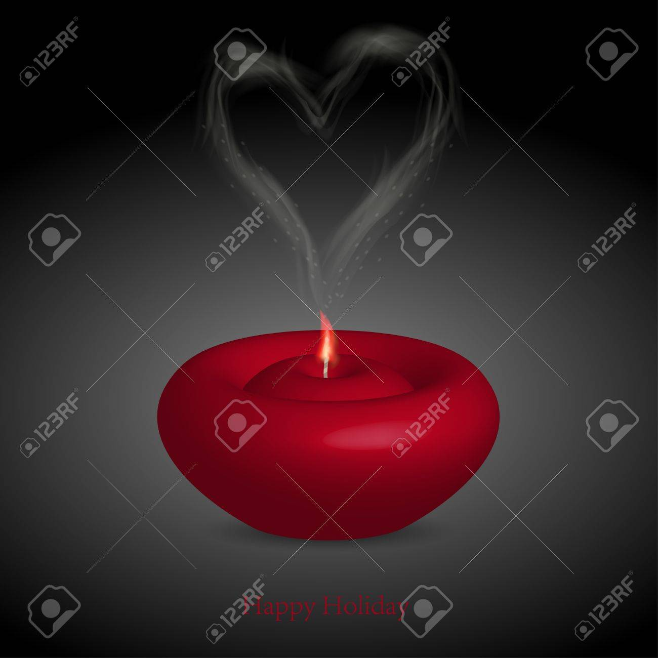 candle with smoke in the form of heart. illustration Stock Vector - 12231695