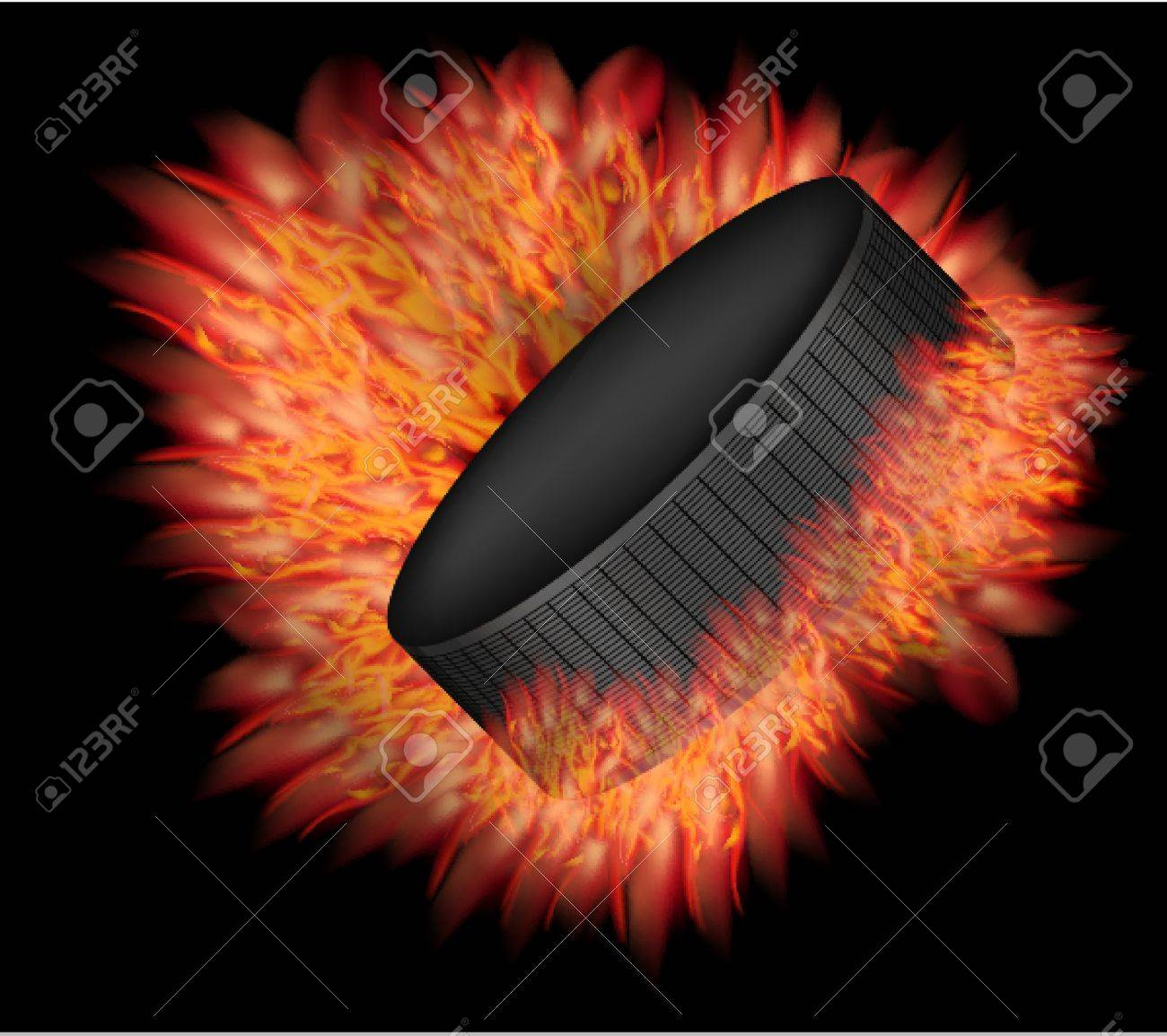 Vector hockey puck with fire. Stock Vector - 12964488