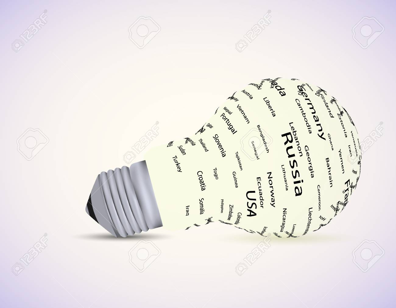 Vector bulb light idea with country. Eps10 Stock Vector - 13230196