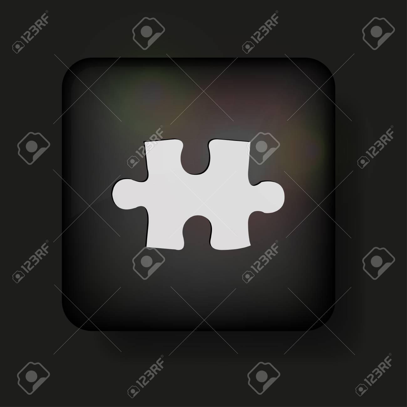 Vector puzzle icon on black. Stock Vector - 13595043