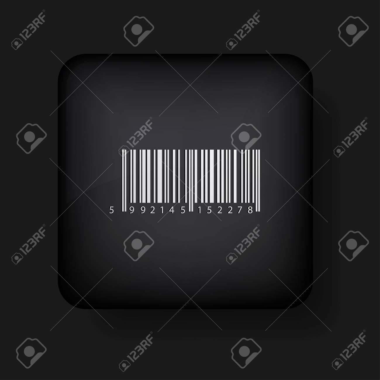 bar code icon on black. Stock Vector - 13698432