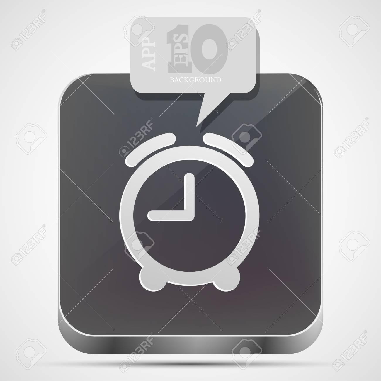 alarm clock app icon with gray bubble speech Stock Vector - 14073603