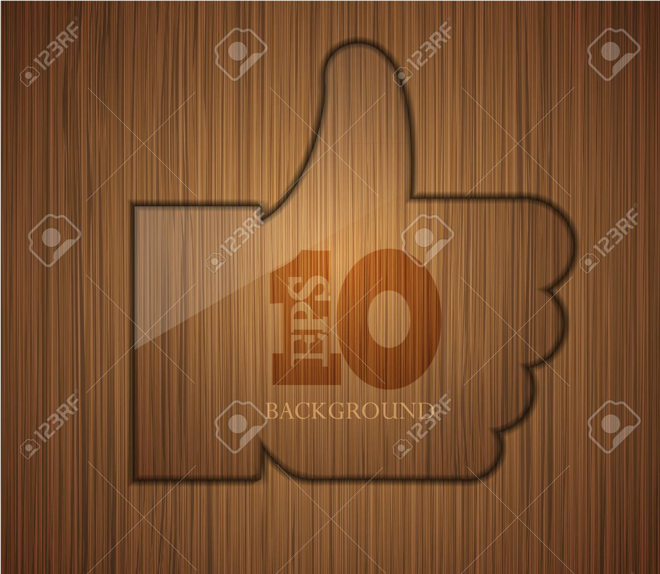 wooden thumbs up. Business background design. Easy to edit. Stock Vector - 14182063