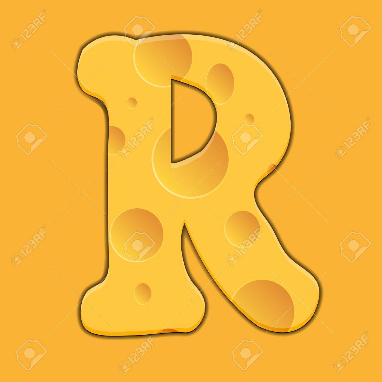 Vector cheese letter R on orange background. Eps 10 Stock Vector - 14351134