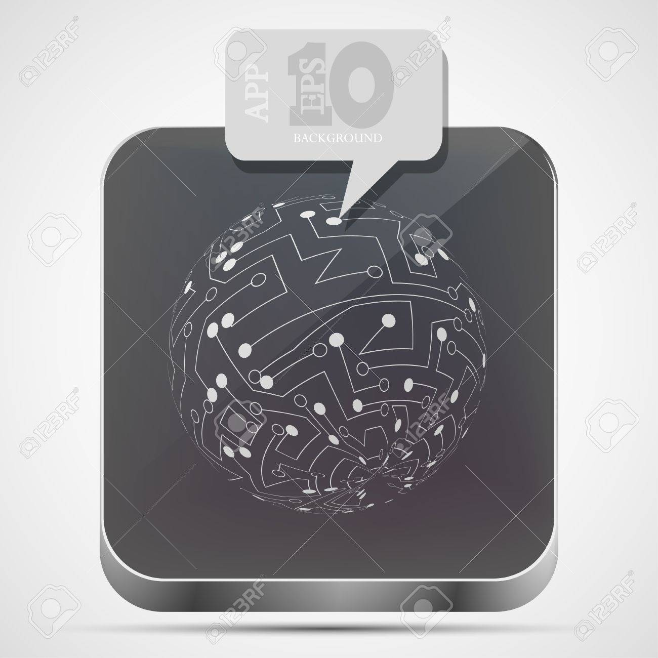 circuit board app icon with gray bubble speech Stock Vector - 15056519