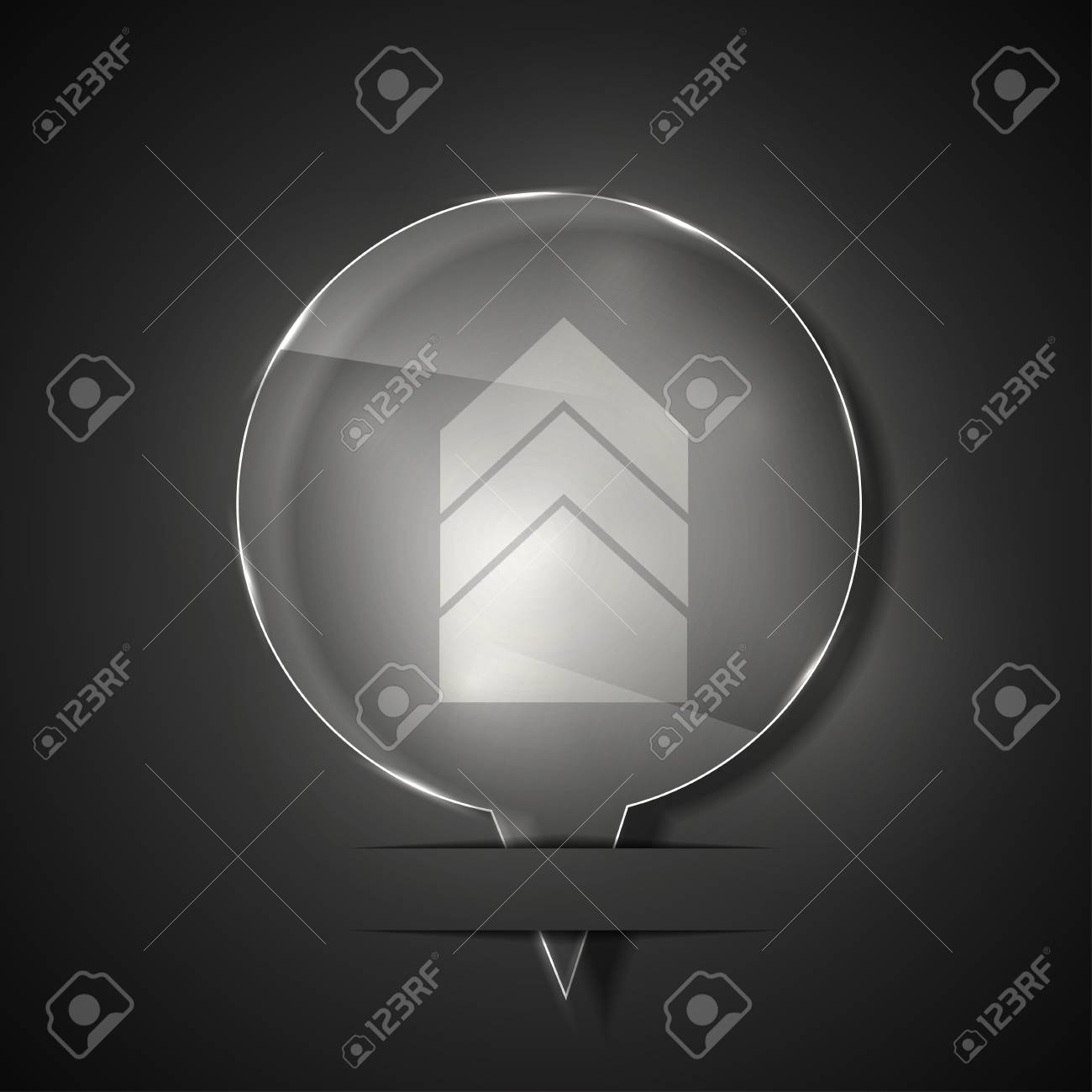 glass arrow icon on gray background. Stock Vector - 15145615