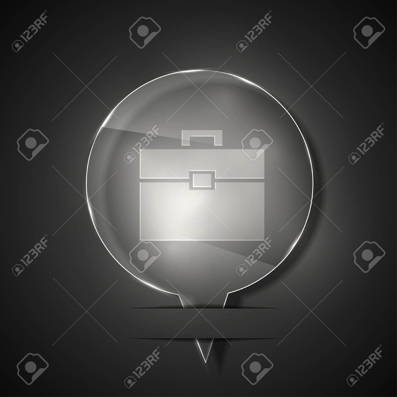 glass briefcase icon on gray background. Stock Vector - 15145604