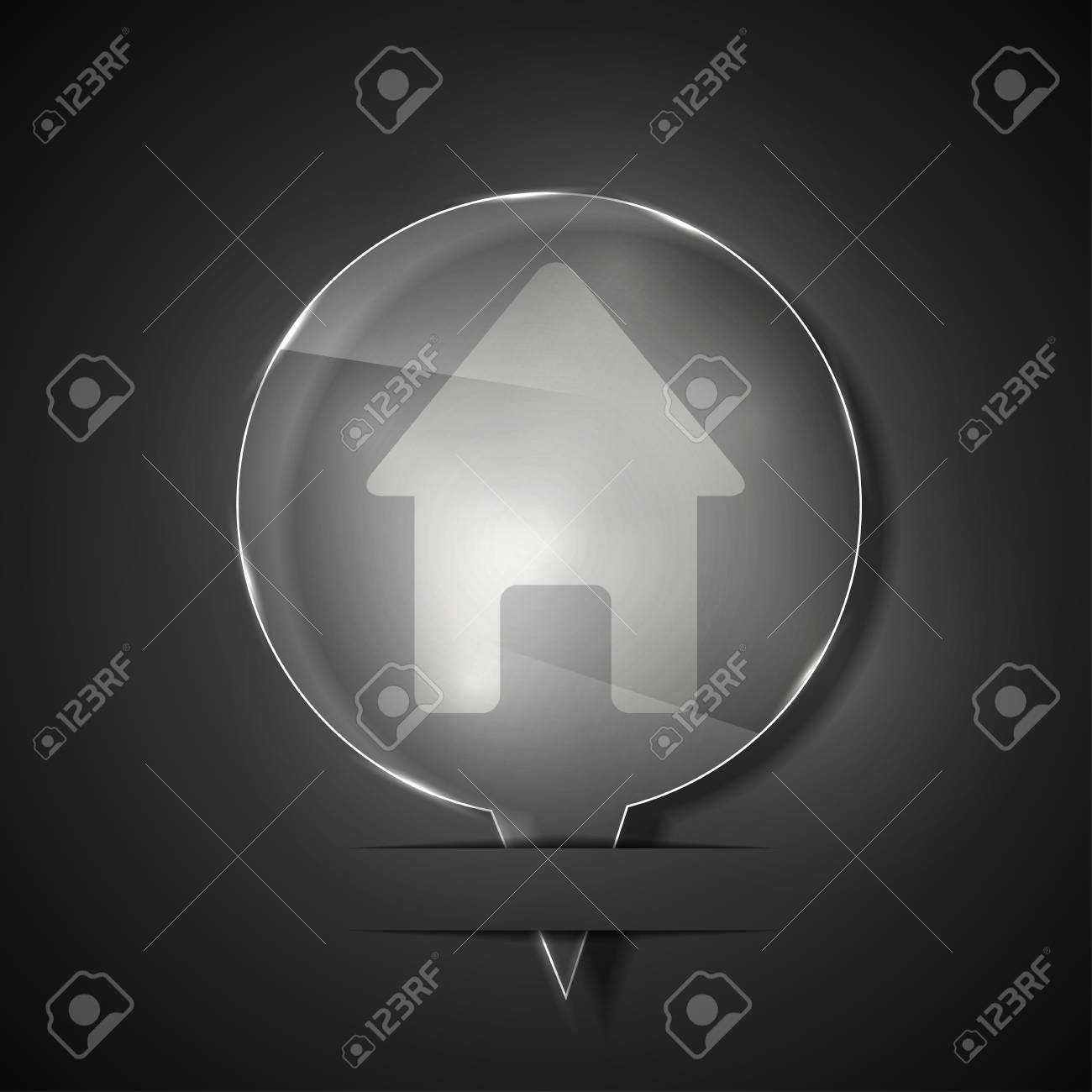 glass home icon on gray background. Stock Vector - 15145649