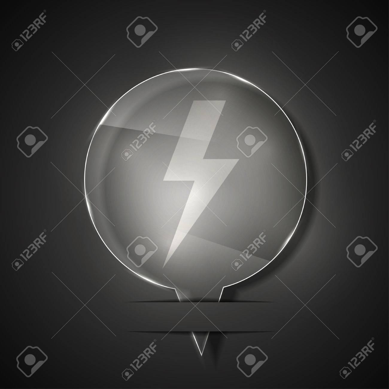 glass lightning bolt icon on gray background. Stock Vector - 15145556