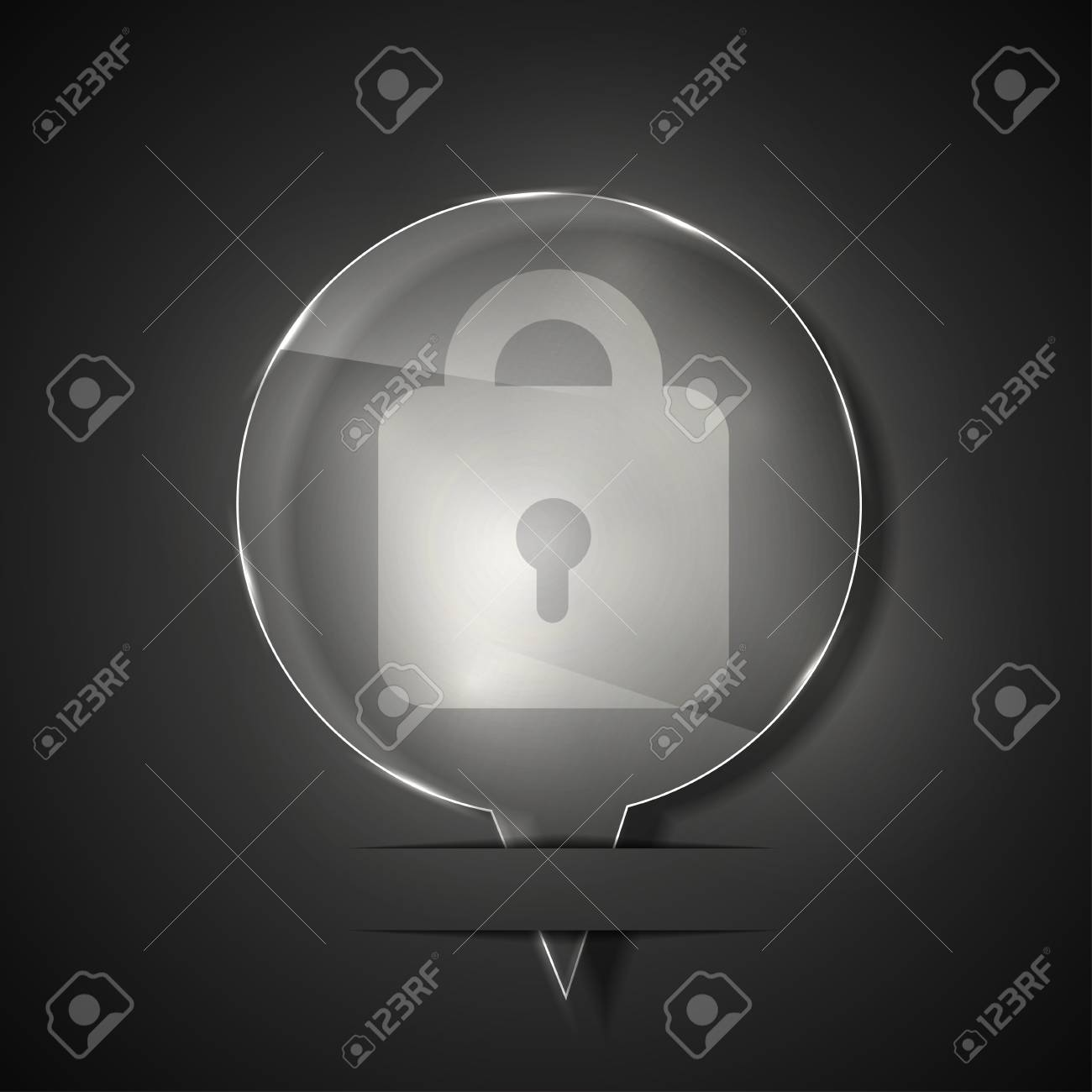 glass lock icon on gray background. Stock Vector - 15145529