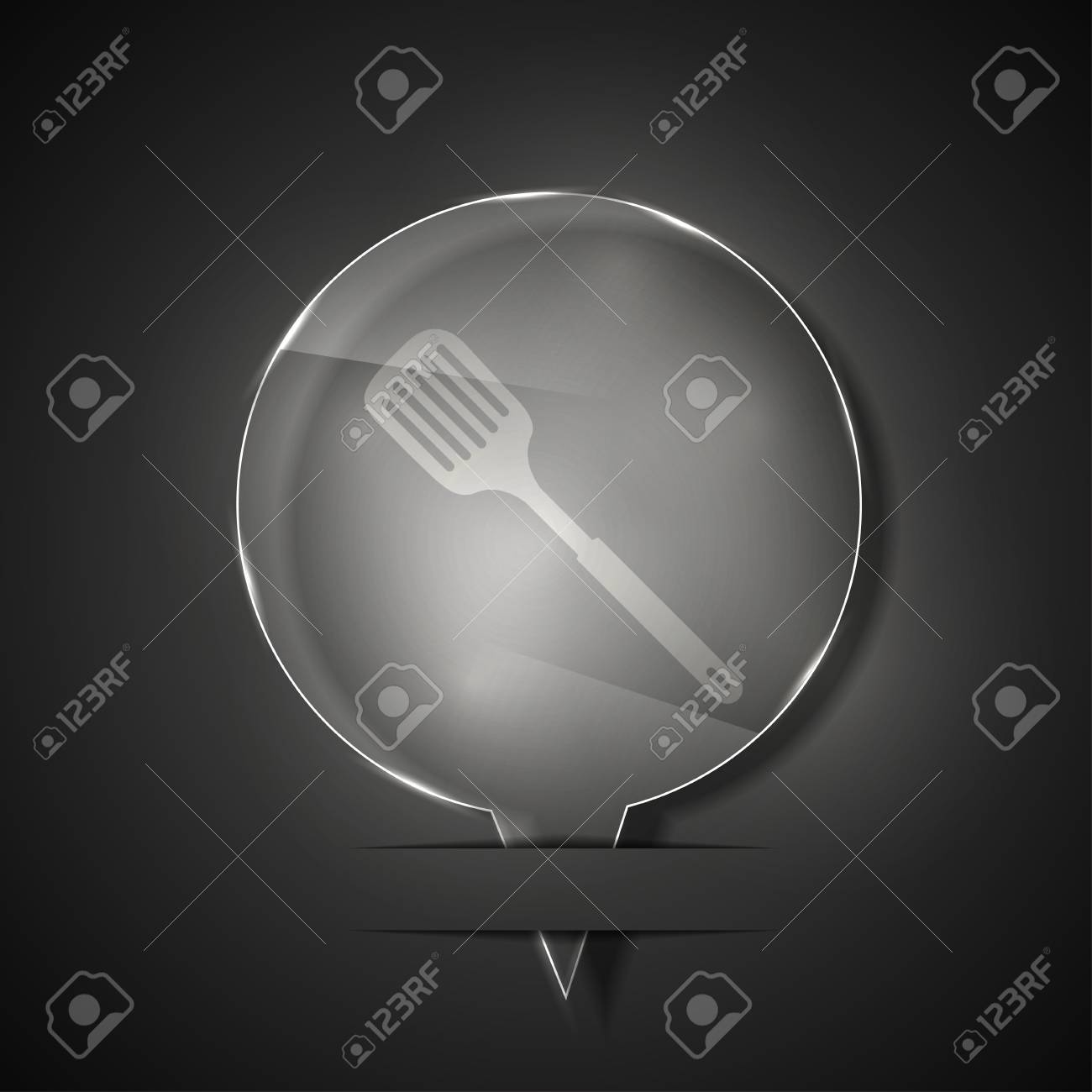 glass slotted kitchen spoon icon on gray background. Stock Vector - 15145662